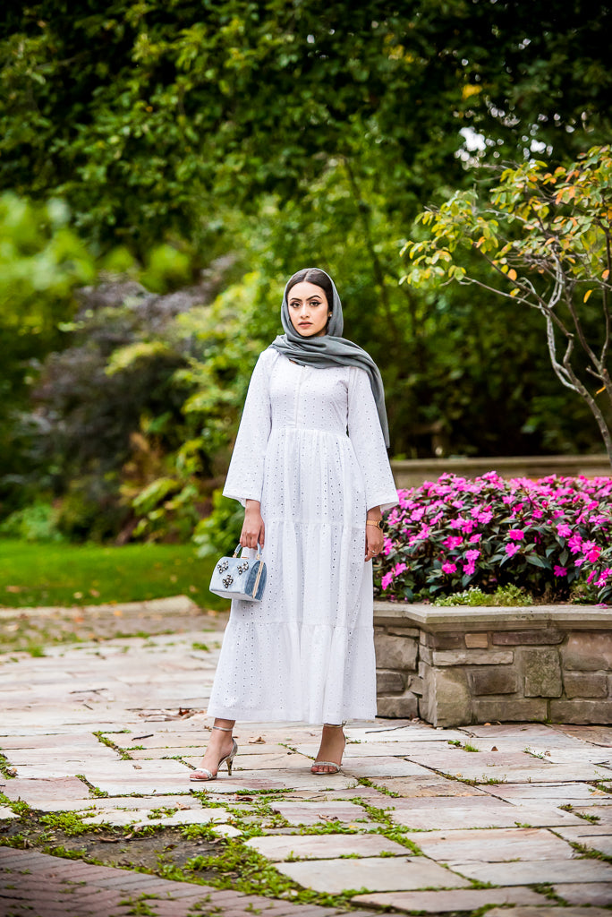 modest white maxi dress- Wardah Mushtaq