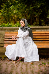 modest hijab fashion white maxi dress- Wardah Mushtaq