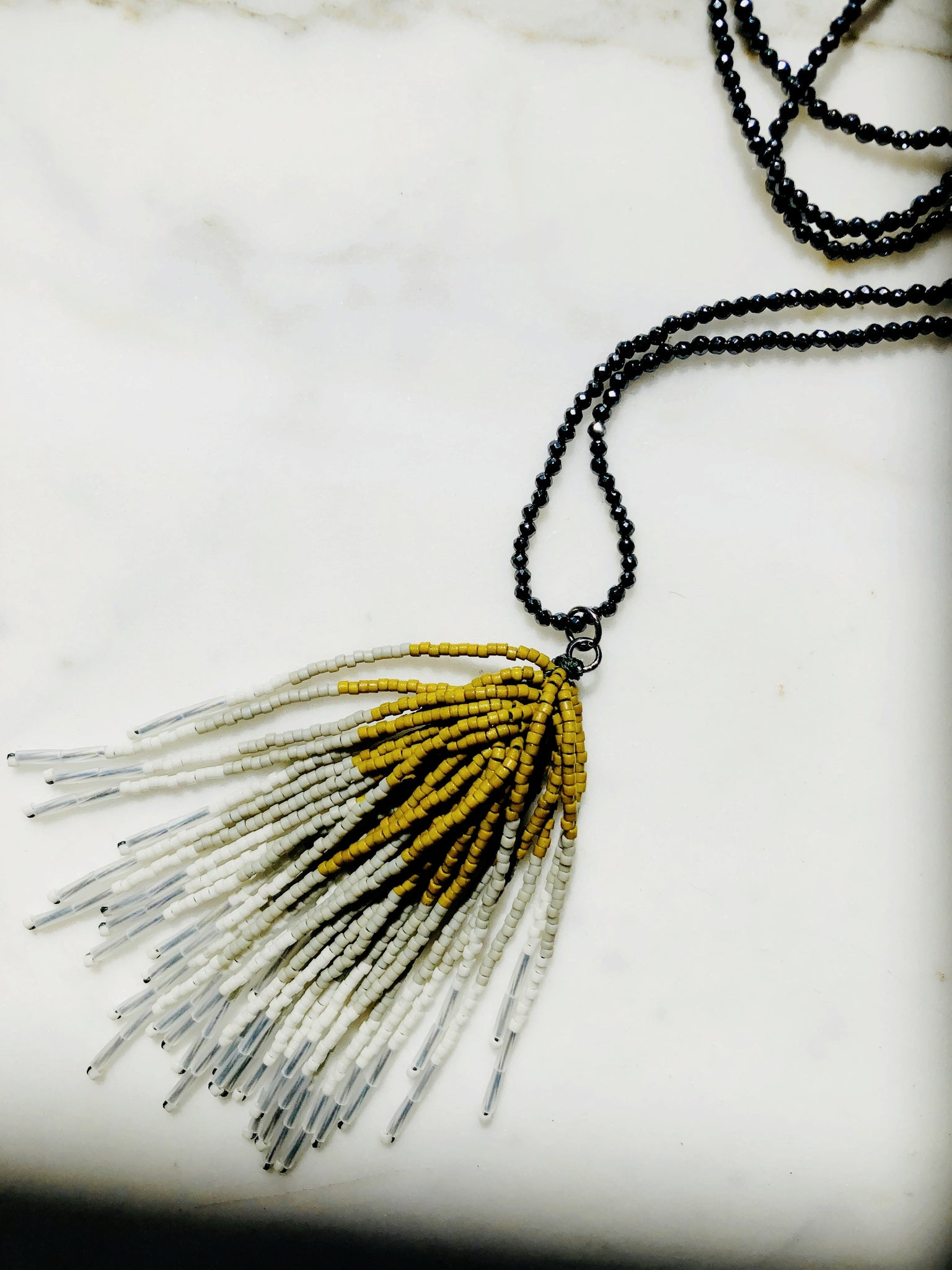 Glass tassel necklace