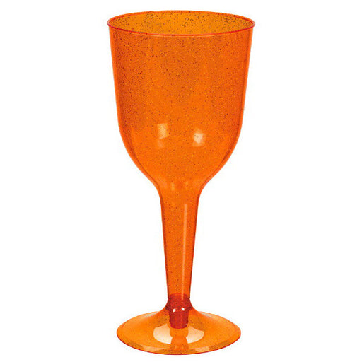 Verres à vin en plastique 10oz. - Orange à paillettes (20/pqt.)