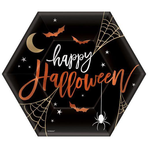 Assiettes en forme d'hexagone Halloween (8/pqt - 9po)