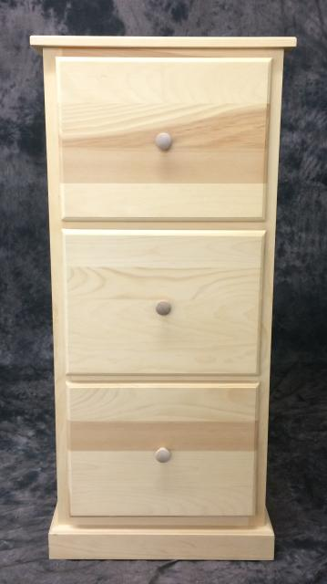 3 Drawer Pine File Cabinet - Home Office