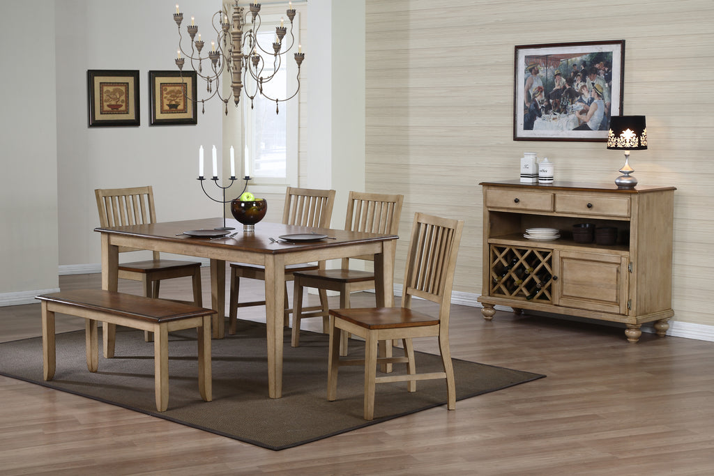 6-PC Brook Dining Room Table W/Bench