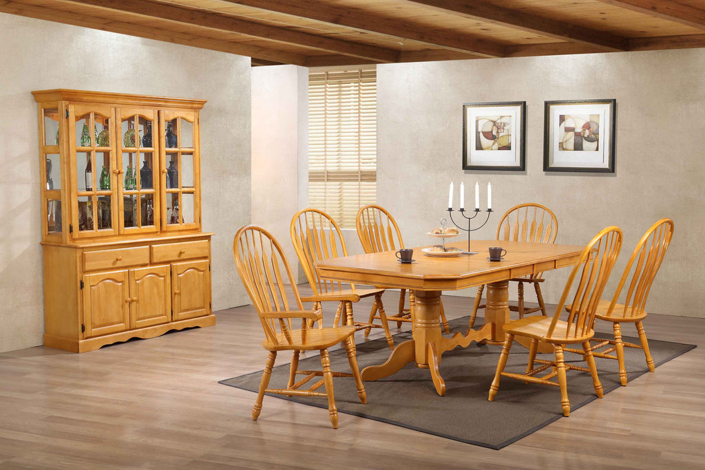 7-PC Double Pedestal Extension Table