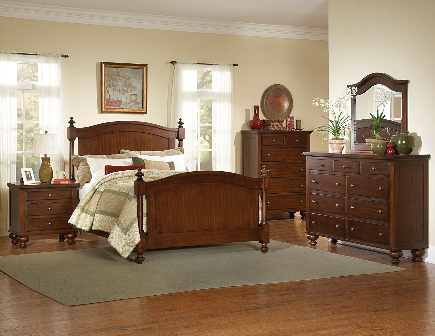 Aris Cherry Queen Bed - Country Woods Furniture