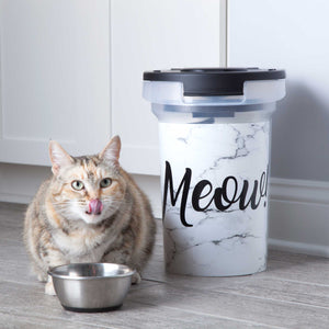 15 lb Pet Food Bin, Meow Marble