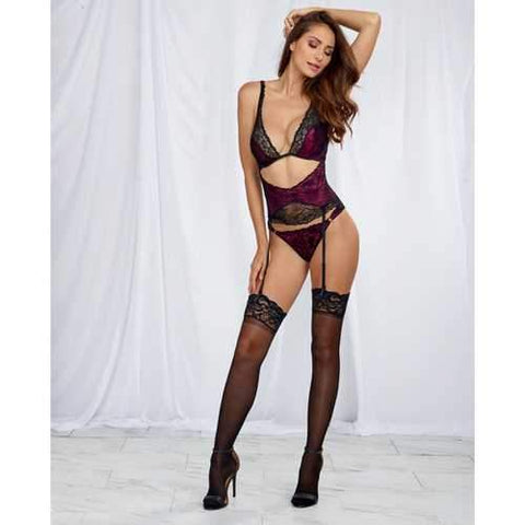 ecc96a187347a Satin Teddy w/Lace Overlay, Attched Gartr Blt w/Remvable Gartrs & Attched