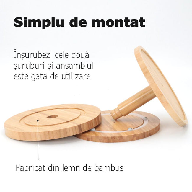 Suport rotativ din Bambus - Easy Spin 2in1