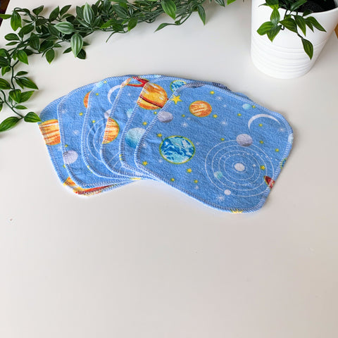 Cloth wipes - 2ply flannelette (solar system)