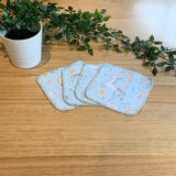 Cloth wipes - 2ply flannelette (unicorns)