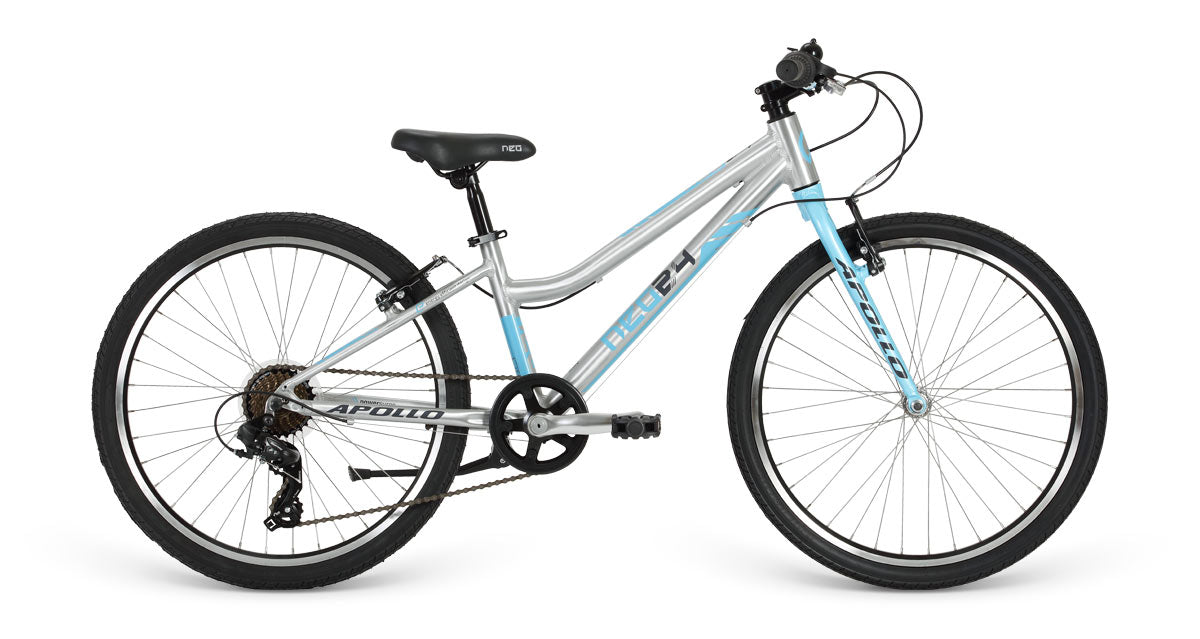 "Neo 24"" Geared 7s Girls - Brushed Alloy / Sky Blue / Charcoal"