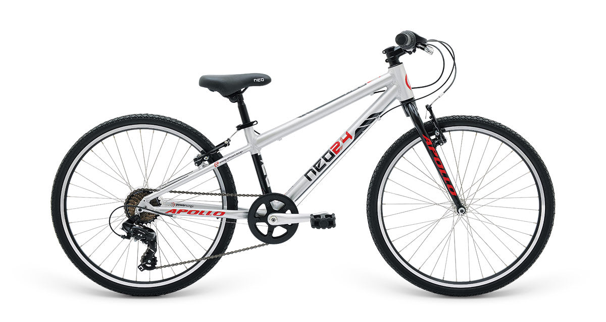 "Neo 24"" Geared 7s Boys - Brushed Alloy / Black/ Red"