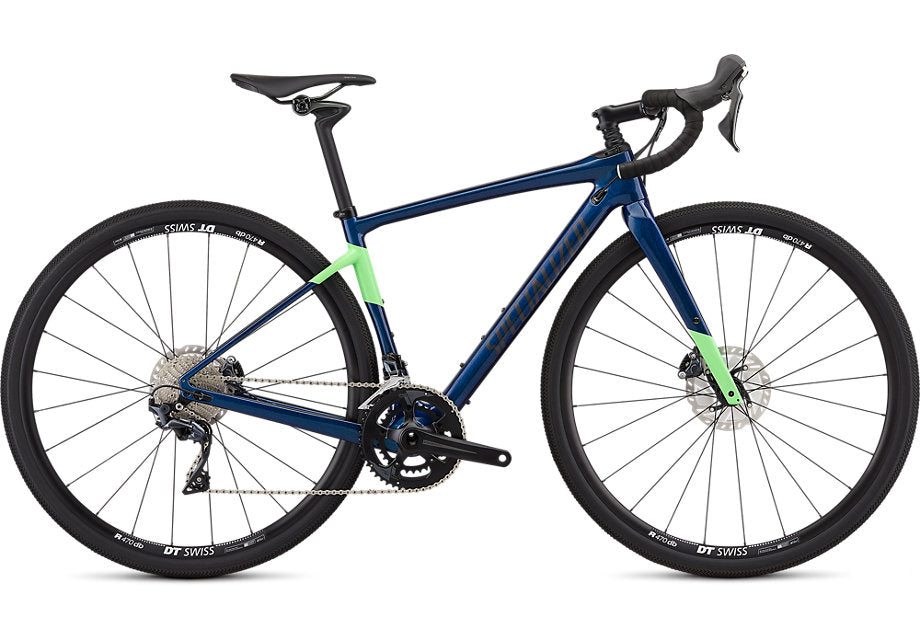 Specialized - Women's Diverge Comp - 2019 - Gloss Chameleon Blue Green Flake / Acid Kiwi / Dream Silver