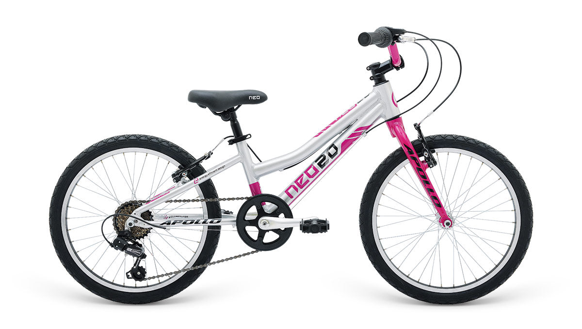 "Neo 20"" Geared 6s Girls - Brushed Alloy / Chrome Pink / Black"