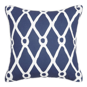 Navy Fishnet Printed Pillow