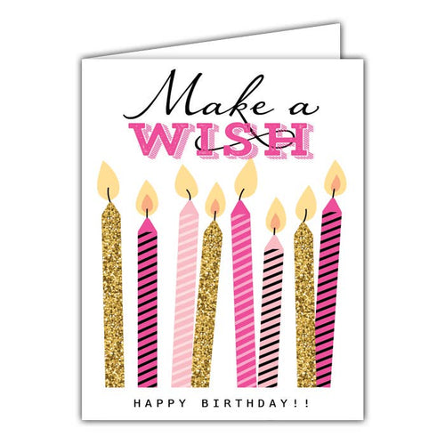Make a Wish Pink Candles Greeting Card