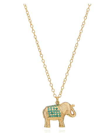 Large Turquoise Pavé Elephant Pendant Necklace - Reversible