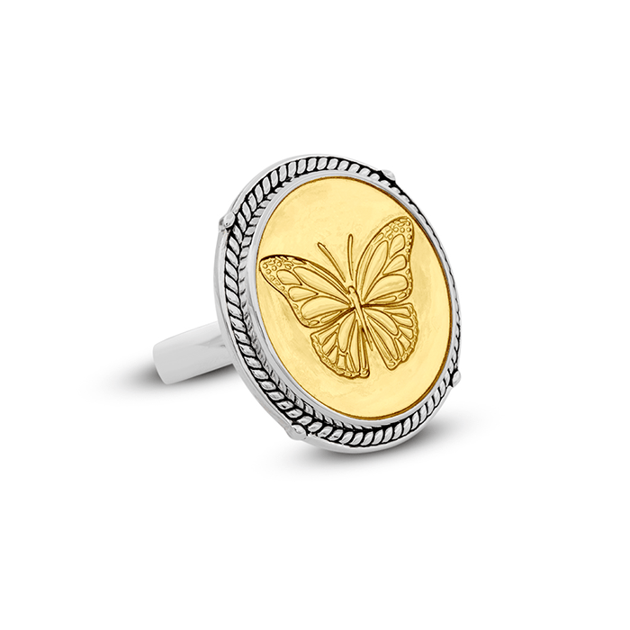 Butterfly Gold Center Ring Size 7