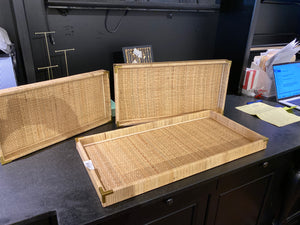 Basketweave trays with brass corners