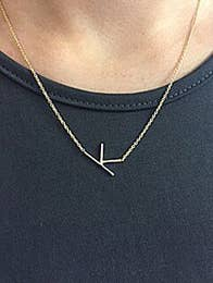 Silver Sideways Initial Necklace