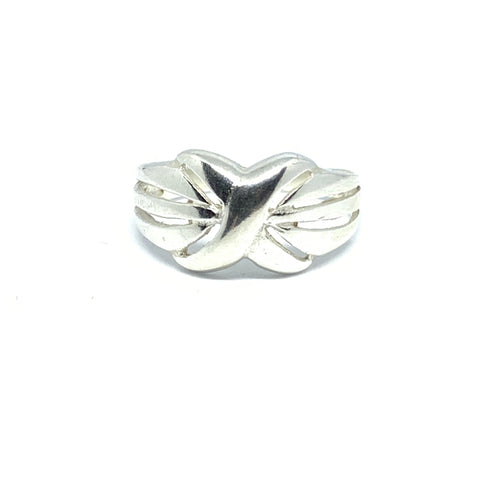 STERLING SILVER X RING - SEAMS JEWELRY