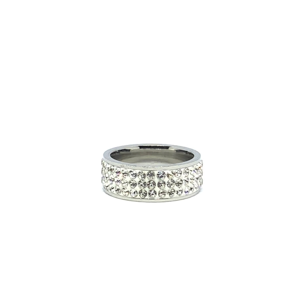 TRIPLE ROW CZ RING - SEAMS JEWELRY