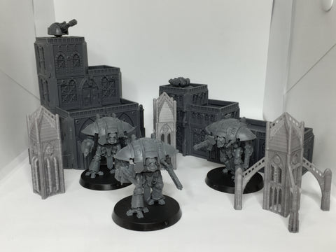 Tabletop - 6mm 3x1 Gothic Stairs & Supports 2 of each