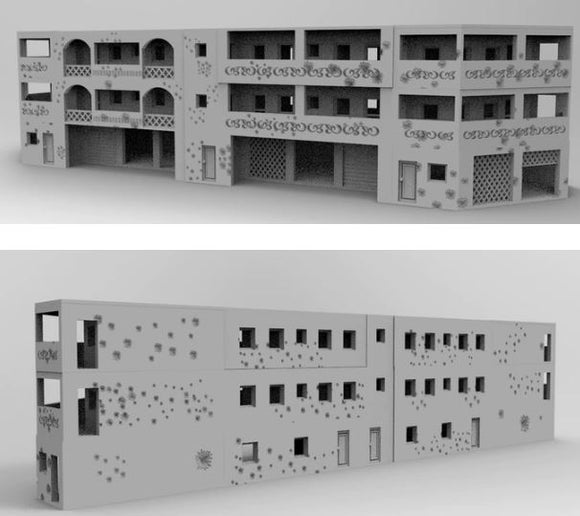 Damaged Apartment Block Complex - 28mm - 20mm