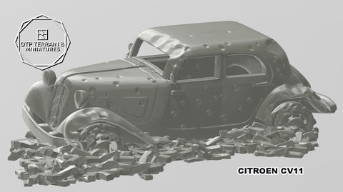 Citroen CV11 destroyed with rubble