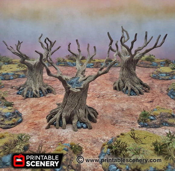 Twisted Trees Set Of 3 - OTP Terrain & Miniatures Off The Print Gaming