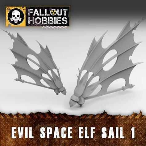 EVIL SPACE ELF SAILS 1 - OTP Terrain & Miniatures Off The Print Gaming