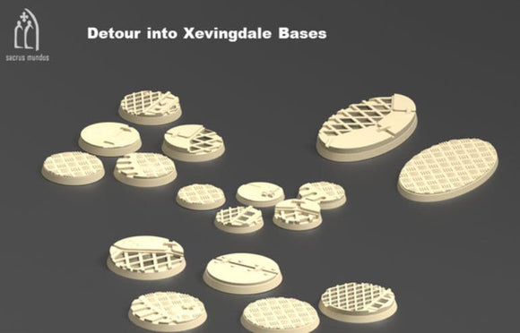 Detour into Xevingdale Bases Set Of 17 - OTP Terrain & Miniatures Off The Print Gaming