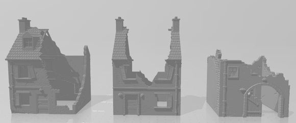 Destroyed Houses & Rubble Set of 3 - 1/56 or 28mm - 1/72 or 20mm - 1/100 or 15mm