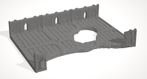 2x3 damaged 2 wal barracade - OTP Terrain & Miniatures Off The Print Gaming