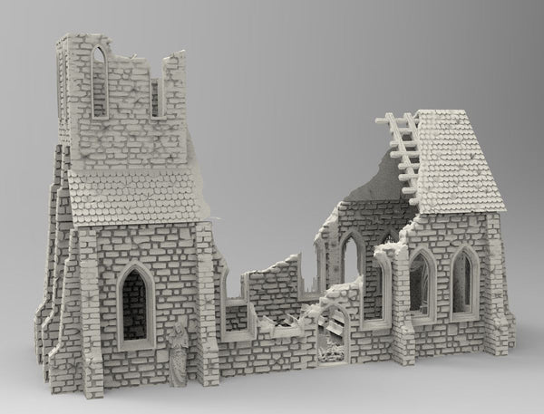 Destroyed Church - OTP Terrain & Miniatures Off The Print Gaming