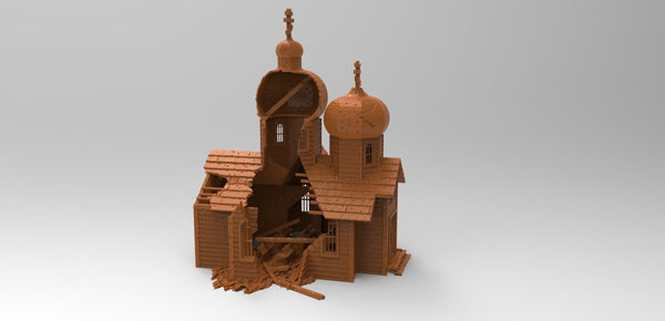 Destroyed Russian Church - OTP Terrain & Miniatures Off The Print Gaming