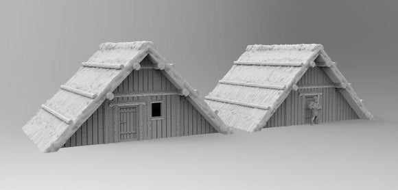 2 x Anglo Saxon Houses - OTP Terrain & Miniatures Off The Print Gaming