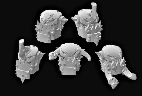 Armored Broozer Head Set x5-A - OTP Terrain & Miniatures Off The Print Gaming