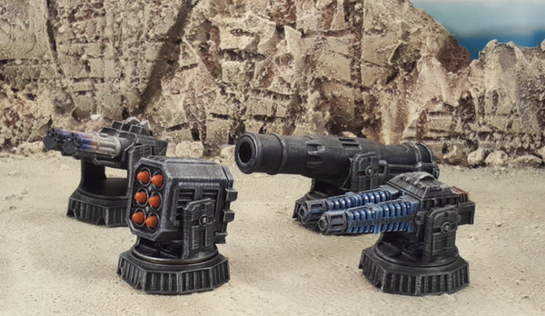Guns & Bases Set-[40KTerrain]-[Fantasyterrain]-[3DPrintedTerrain]-[Wargaming]-[Tabletopgaming]-OTP Terrain Off The Print Gaming