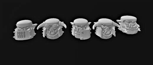 Broozer Helm Heads B x 5 - OTP Terrain & Miniatures Off The Print Gaming