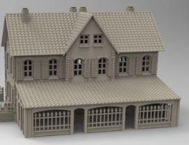 """Gasthaus"" (Restaurant/Hotel) with annex - OTP Terrain & Miniatures Off The Print Gaming"