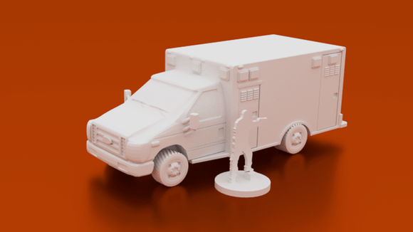 Urban Ambulance EMS Truck - OTP Terrain & Miniatures Off The Print Gaming
