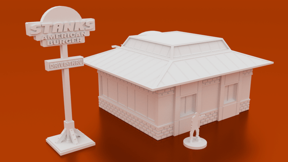 Urban Fast Food Restaurant - OTP Terrain & Miniatures Off The Print Gaming