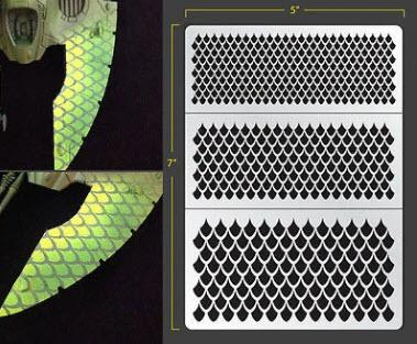 Dragon Scales 002 Airbrush Stencil - OTP Terrain & Miniatures Off The Print Gaming