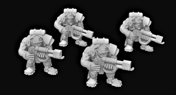 Broozer Guard Special Weapons Flamethrower x4 - OTP Terrain & Miniatures Off The Print Gaming