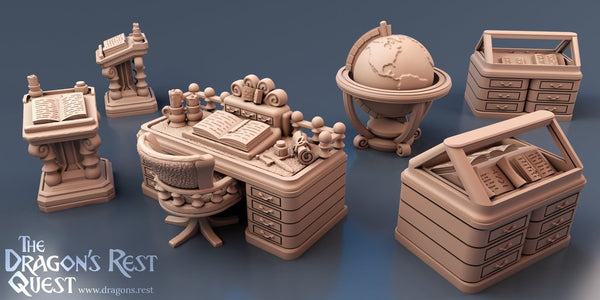Study Furniture Set - OTP Terrain & Miniatures Off The Print Gaming