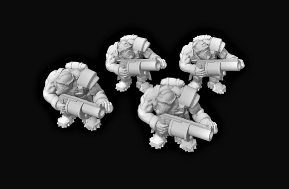 Broozer Guard Special Weapons Grenade Launchers x4 - OTP Terrain & Miniatures Off The Print Gaming
