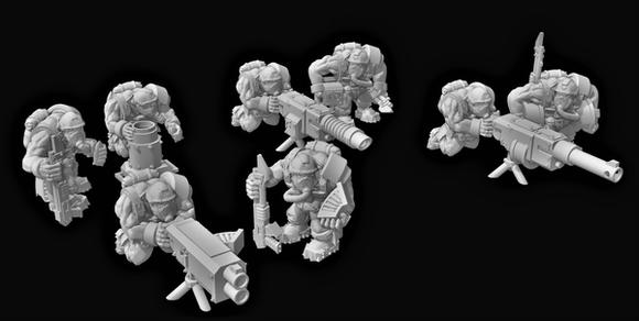 Broozer Guard Heavy Weapon Teams x4 - OTP Terrain & Miniatures Off The Print Gaming
