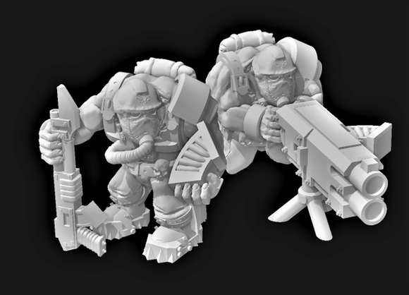 Broozer Guard Heavy Weapon Machine Gunner Team - OTP Terrain & Miniatures Off The Print Gaming