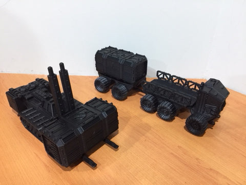 VEHICLE SET TRUCK, LIFTER AND 2 CONTAINERS-[40KTerrain]-[Fantasyterrain]-[3DPrintedTerrain]-[Wargaming]-[Tabletopgaming]-OTP Terrain Off The Print Gaming